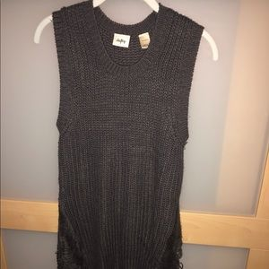 Long grey sweater vest with thread mesh sides